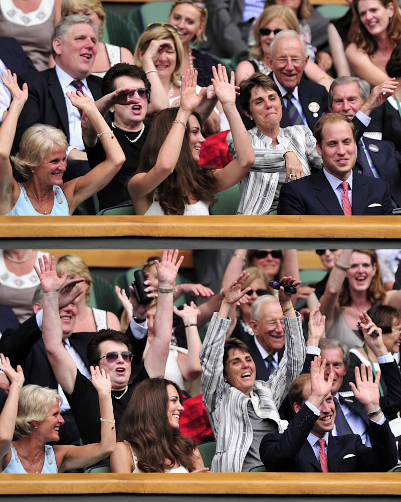 "Princess Cate and Prince William take part in the ""wave"" as they watch Rafael Nadal challenge Argentina's Juan Martin Del Potro in a Men's Singles match at the 2011 Wimbledon Championships at the all England tennis club in south-west London, on June 27th, 2011. Photo courtesy of Getty Images."