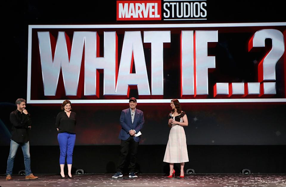 ANAHEIM, CALIFORNIA - AUGUST 23: (L-R) Director Bryan Andrews and Head writer A.C. Bradley of 'What If...?' and President of Marvel Studios Kevin Feige and Hayley Atwell of 'What If...?' took part today in the Disney+ Showcase at Disney's D23 EXPO 2019 in Anaheim, Calif.  'What If...?' will stream exclusively on Disney+, which launches November 12. (Photo by Jesse Grant/Getty Images for Disney)
