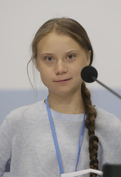 Climate activist Greta Thunberg participates in a news conference at the COP25 Climate summit in Madrid, Spain, Monday, Dec. 9, 2019. Thunberg is in Madrid where a global U.N.-sponsored climate change conference is taking place. (AP Photo/Andrea Comas)
