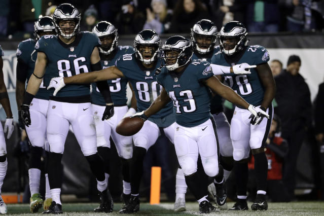 Philadelphia Eagles' Darren Sproles (43) celebrates after scoring a touchdown against the Redskins. (AP)