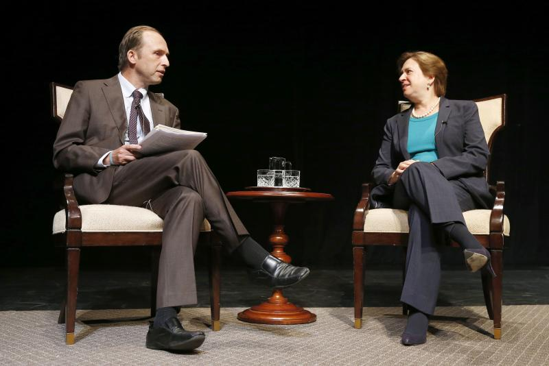 United States Supreme Court Justice Elena Kagan, right, talks with Brown University historian Ted Widmer during a forum at Chase Theater in Providence, R.I., Tuesday, Aug. 20, 2013. (AP Photo/Michael Dwyer)