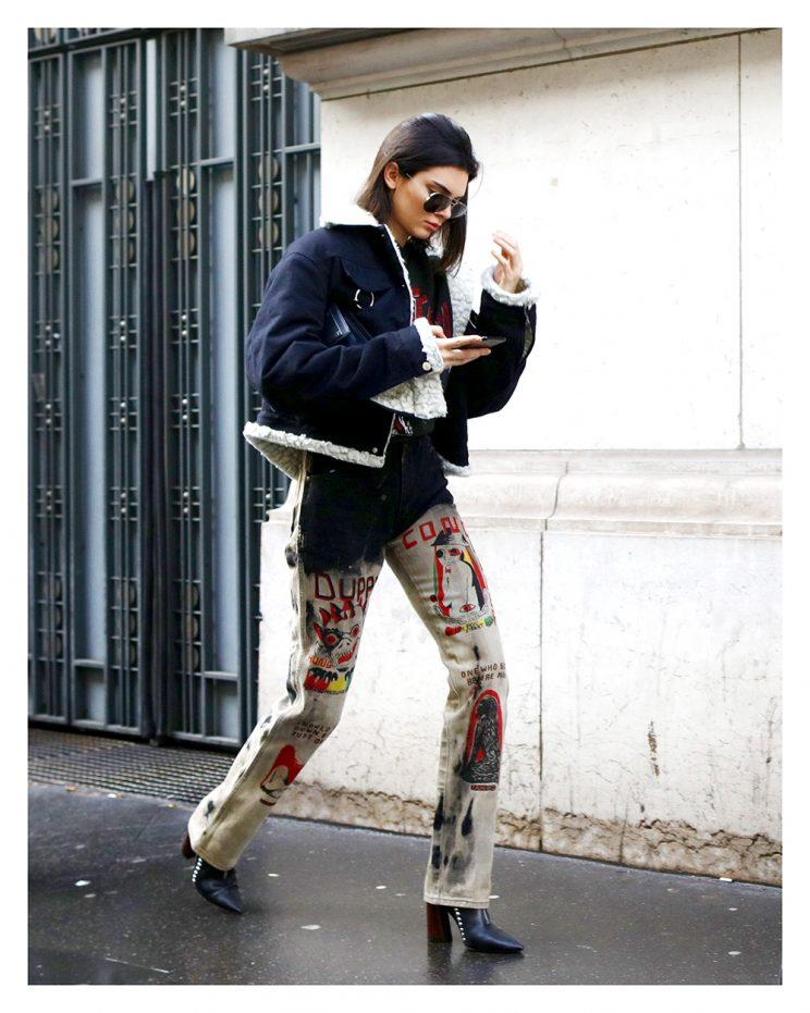 Kendall's showing some cartoon pants cool.