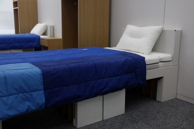 Bedroom furniture including cardboard beds for the Tokyo 2020 Olympic and Paralympic Villages in a display room in Tokyo