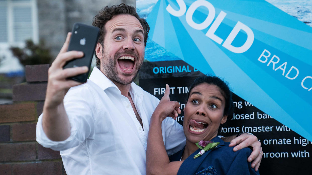 Rafe Spall finds himself trapped in time jump chaos in sci-fi comedy 'Long Story Short'. (See Pictures/StudioCanal/Sky Cinema)