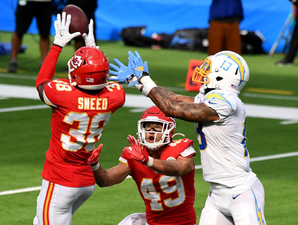 Chiefs cornerback L'Jarius Sneed recorded his second interception in as many weeks in Week 2 against the Los Angeles Chargers. (Photo by Keith Birmingham/MediaNews Group/Pasadena Star-News via Getty Images)