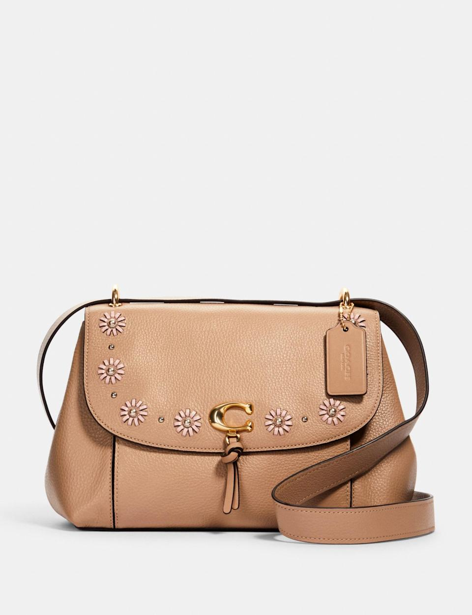 Remi Shoulder Bag With Whipstitch Daisy Applique.