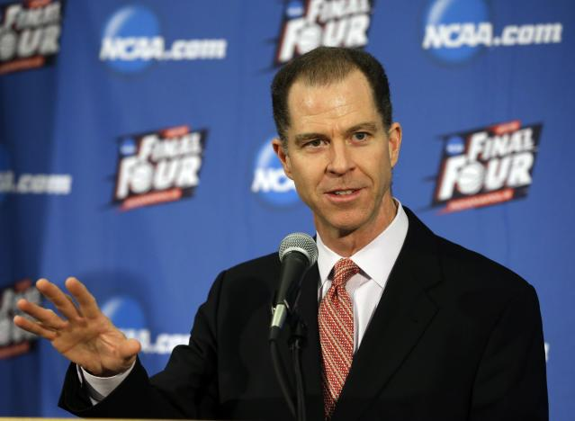 Dan Gavitt, NCAA vice president of mens basketball, talks about events that are scheduled around the NCAA men's Final Four basketball tournament to be held in Indianapolis in April, during a press conference in Indianapolis, Tuesday, Jan. 20, 2015. (AP Photo/Michael Conroy)