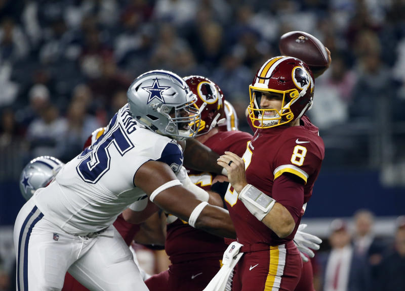 Dallas Cowboys defensive tackle David Irving (95) pressures Washington Redskins quarterback Kirk Cousins on Thursday night. (AP)