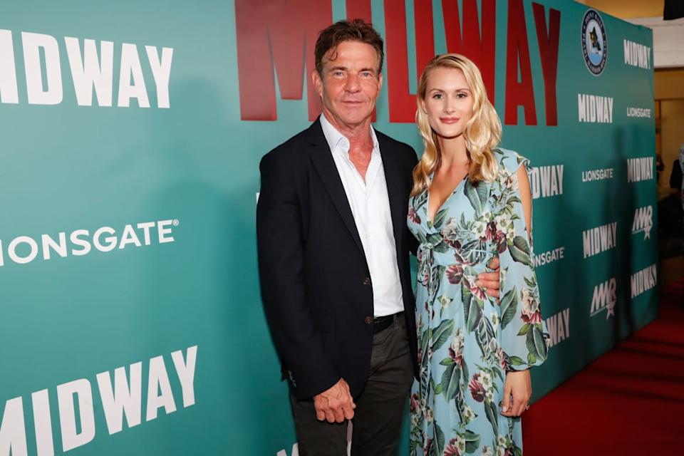 """<div class=""""inline-image__caption""""><p>Dennis Quaid and fiancee Laura Savoie arrive at the <em>Midway</em> premiere at Joint Base Pearl Harbor-Hickam on October 20, 2019, in Honolulu, Hawaii</p></div> <div class=""""inline-image__credit"""">Marco Garcia/Getty</div>"""