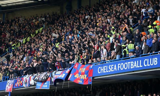"""<span class=""""element-image__caption"""">Crystal Palace fans at Stamford Bridge during the 2-1 win over Chelsea. Palace are away at Liverpool on 23 April.</span> <span class=""""element-image__credit"""">Photograph: Leicester/BPI/Rex/Shutterstock</span>"""