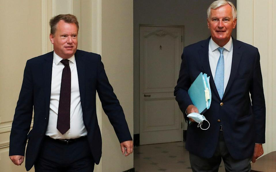 David Frost and Michel Barnier, the UK and EU's chief negotiators, in happier times. But hopes are rising that trade talks could still resume.   - Reuters