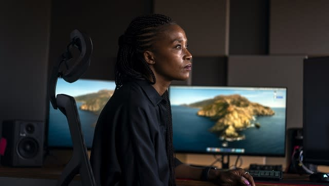 Bongiwe Selane, a producer, at the Usual Suspects Studios in Johannesburg on April 13, 2021. She says people want to see stories about their current experiences, not just from the apartheid era. (Joao Silva/The New York Times)