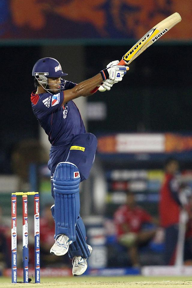 Unmukt Chand of Delhi Daredevils gets airborne playing a delivery during match 39 of the Pepsi Indian Premier League between The Delhi Daredevils and the Pune Warriors India held at the Chhattisgarh International Cricket Stadium in Raipur on the 28th April 2013. (BCCI)