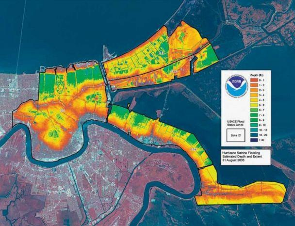 PHOTO: A graphic released by the National Oceanic and Atmospheric Administration shows the estimated depth and extent of flooding in New Orleans after Hurricane Katrina as of Aug. 31, 2005. (NOAA)