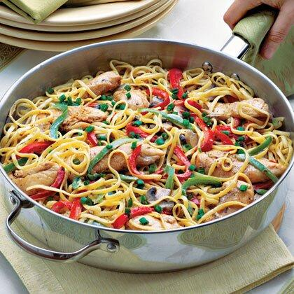 """<p>One easy way to kick up the flavor in a dish is to add Cajun seasoning. Here, the seasoning is sprinkled on the <a href=""""https://www.myrecipes.com/chicken-recipes/"""">chicken</a> strips before they're sautéed and tossed into the linguine-vegetable mixture.</p> <p><a href=""""https://www.myrecipes.com/recipe/cajun-chicken-pasta"""">Cajun Chicken Pasta Recipe</a></p>"""