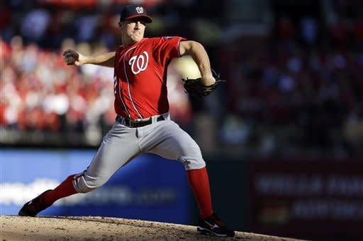 Washington Nationals starting pitcher Jordan Zimmermann throws during the second inning in Game 2 of baseball's National League division series against the St. Louis Cardinals, Monday, Oct. 8, 2012, in St. Louis. (AP Photo/Jeff Roberson)