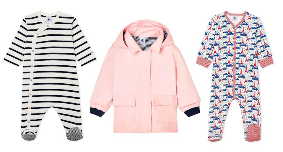 Petit Bateau's baby clothing range includes printed bodysuits, durable raincoats and multipacks of basics. (Petit Bateau/Yahoo UK)
