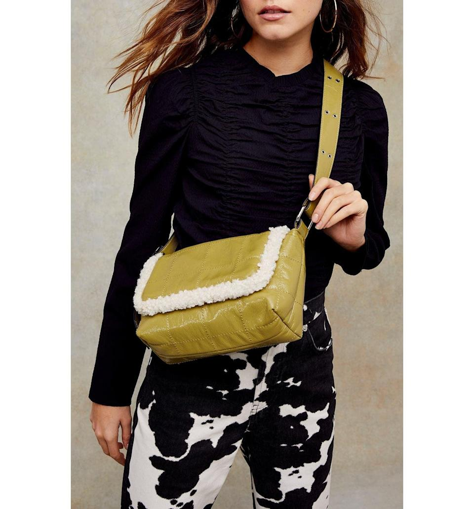 <p><span>Topshop Borg Faux Leather &amp; Fleece Shoulder Bag</span> ($21, originally $50)</p>