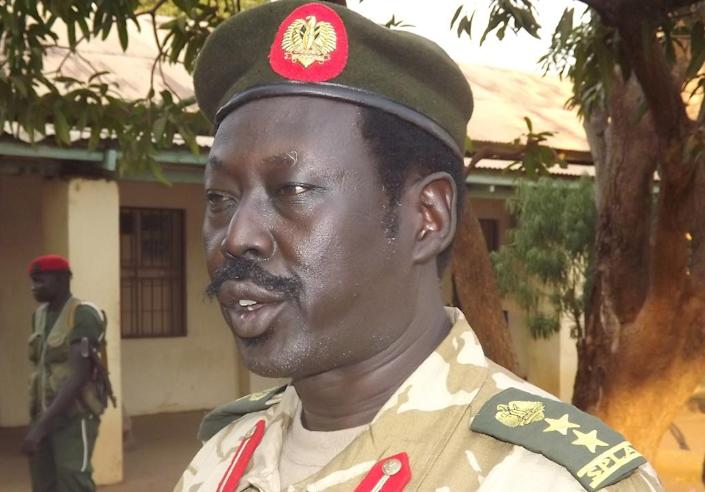 Sudan People's Liberation Army (SPLA) army spokesman Philip Aguer (pictured) denied it had blockaded boats travelling on the Nile river, the main route for aid into the largely roadless northern areas (AFP Photo/Samir Bol)