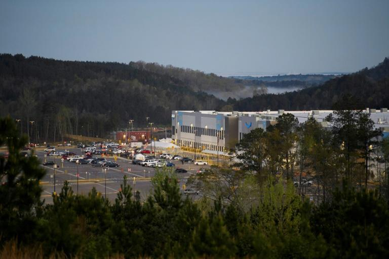 The Amazon.com, Inc. BHM1 fulfillment center is seen on March 29, 2021 in Bessemer, Alabama