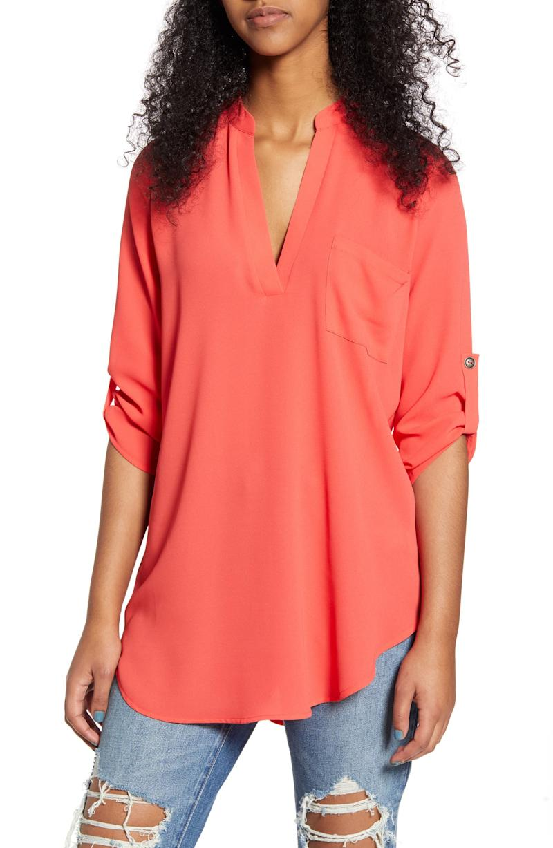 All In Favor Perfect Henley Tunic in poppy red