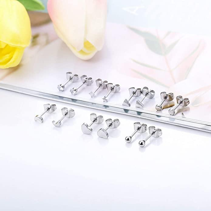 "<h2>Sllaiss Tiny Geometric Stud Earrings Set</h2><br>Enter: the ideal stainless steel set for those that have multiple ear piercings. Adorn your lobes with sparkling, geometric studs. <br><br><strong>Sllaiss</strong> Sllaiss Tiny Geometric Stud Earrings Set, $, available at <a href=""https://www.amazon.com/gp/product/B07VKYS965/ref=as_li_ss_tl?"" rel=""nofollow noopener"" target=""_blank"" data-ylk=""slk:Amazon"" class=""link rapid-noclick-resp"">Amazon</a>"