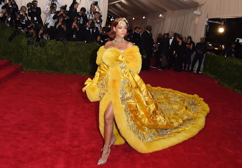 """Rihanna in Guo Pei at the 2015 Met Gala """"China: Through the Looking Glass."""" Photo by Getty Images."""