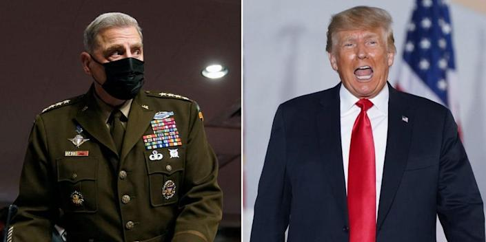 Chairman of the Joint Chiefs of Staff Gen. Mark Milley and former President Trump.