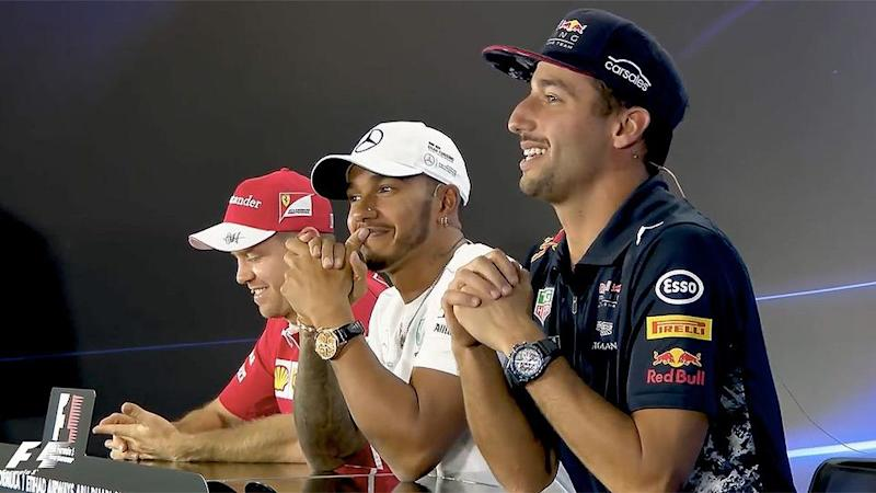 The two drivers did their best to hold in some laughter. Pic: F1
