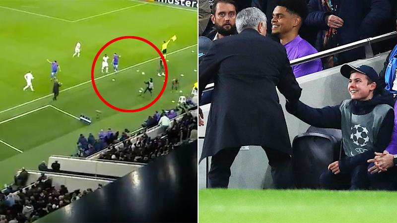 A ball boy for Tottenham stole the show in Spurs' Champions League win over Olympiacos.
