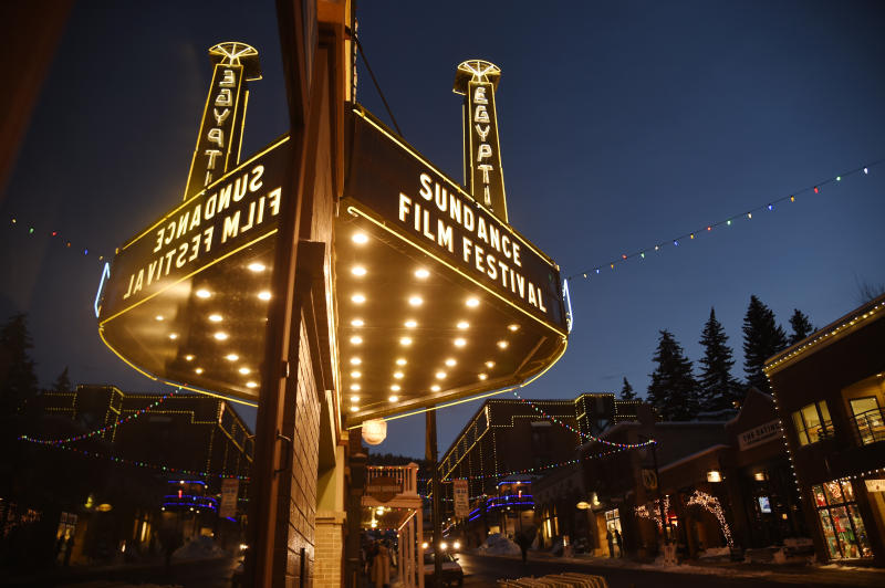 FILE - In this Jan. 18, 2017 file photo, The Egyptian Theatre is pictured on the eve of the 2017 Sundance Film Festival in Park City, Utah. This year's festival will run from Jan. 23 thru Feb. 2. (Photo by Chris Pizzello/Invision/AP, File)