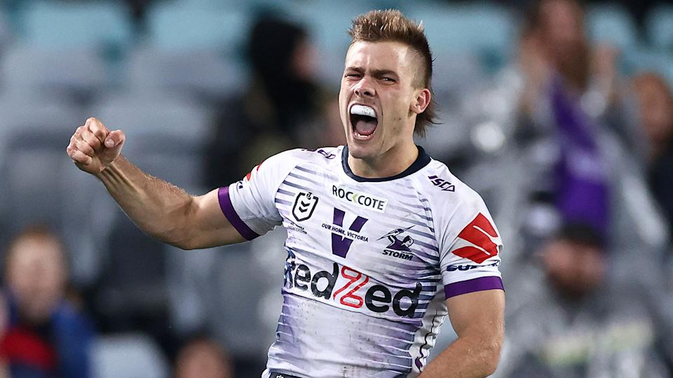 Seen here, Ryan Papenhuyzen was voted the best player in the 2020 NRL grand final.