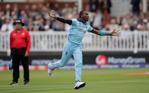 Jofra Archer celebrates taking a wicket in the World Cup final - Credit: AP