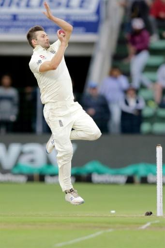 Express pace: England's Mark Wood on his way to two wickets on Sunday