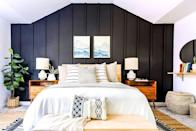 """<p>Cincinnati-based lifestyle blogger <a href=""""https://www.goodhousekeeping.com/home/decorating-ideas/a35106752/anna-mae-groves-family-house-tour/"""" rel=""""nofollow noopener"""" target=""""_blank"""" data-ylk=""""slk:Anna Mae Groves"""" class=""""link rapid-noclick-resp"""">Anna Mae Groves</a> didn't think twice about installing a black board-and-batten wall in her master bedroom. Not only does the paneling lend a moody touch to the space — it helps to balance the light-colored maple headboard. <br></p>"""