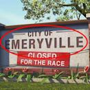 """<p>Also in <em>Cars</em>, one enthusiastic town shuts down for a race — it's Emeryville, another shout-out to the town in California where the <a href=""""https://www.pixar.com/contact-us"""" rel=""""nofollow noopener"""" target=""""_blank"""" data-ylk=""""slk:Pixar Animation Studios"""" class=""""link rapid-noclick-resp"""">Pixar Animation Studios</a> are located.</p>"""