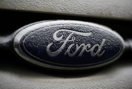 FILE PHOTO:  Snowflakes are seen on the badge of a Ford car in Warsaw, Poland, December 17, 2016. REUTERS/Kacper Pempel/File Photo