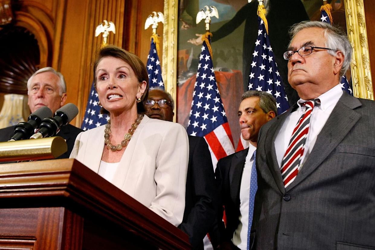 Speaker of the House Nancy Pelosi at a news conference with House Majority Leader Steny Hoyer, left, and House Majority Whip James Clyburn, second from left, on Sept. 29, 2008. The House failed to pass the Emergency Economic Stabilization Act, 205-228. (Photo: Chip Somodevilla/Getty Images)