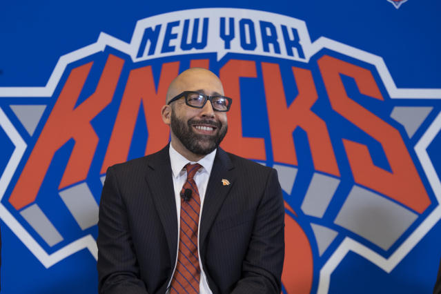 New York Knicks NBA basketball team new head coach David Fizdale smiles during an introductory news conference, Tuesday, May 8, 2018, in New York. The Knicks announced the hiring Monday after agreeing to terms with the former Memphis Grizzlies coach last week. (AP Photo/Mary Altaffer)
