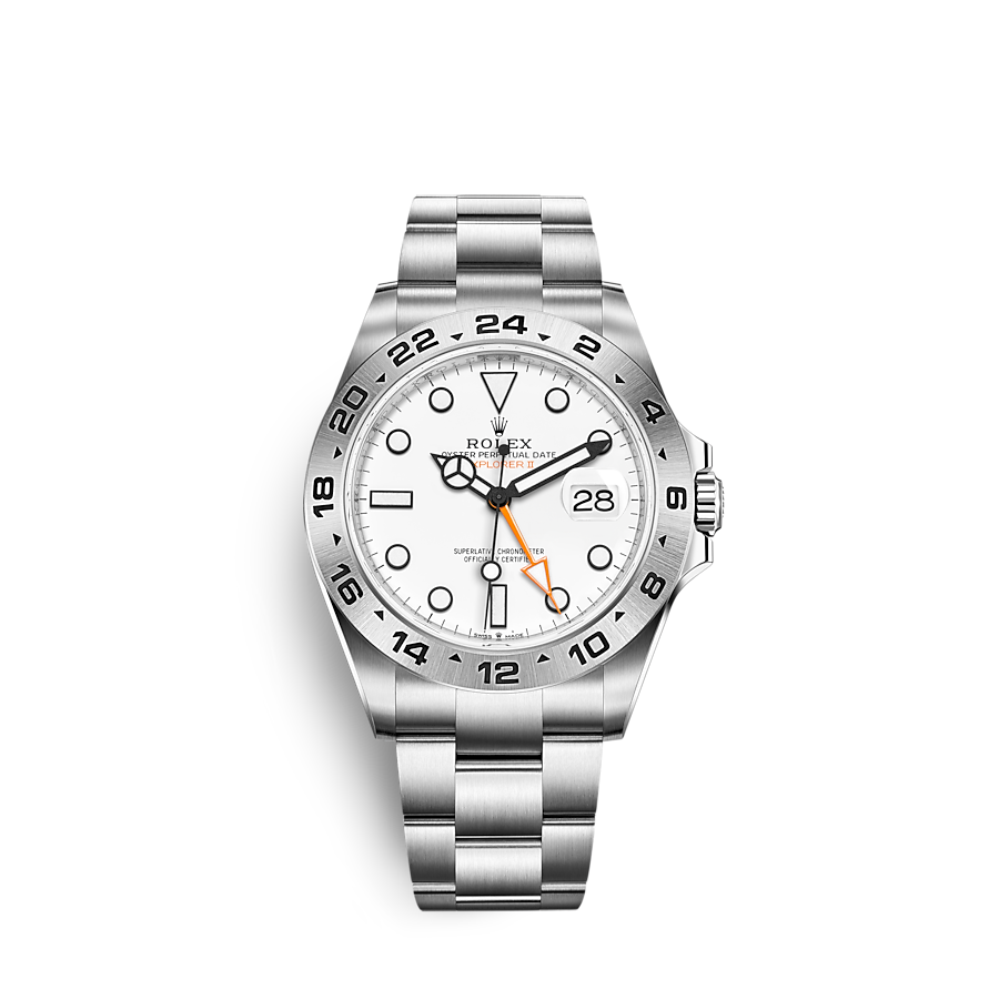 """<p><strong>Rolex</strong></p><p>rolex.com</p><p><a href=""""https://www.rolex.com/watches/explorer/m226570-0001.html"""" rel=""""nofollow noopener"""" target=""""_blank"""" data-ylk=""""slk:Shop Now"""" class=""""link rapid-noclick-resp"""">Shop Now</a></p><p>Celebrating the 50th anniversary of the 1971 Explorer II, Rolex has slimmed down the proportions of the case, added AR coating to the crystal, and updated to the new calibre 3285, the same that comes with the GMT Master II. <br></p><p>Case size: 42mm</p>"""