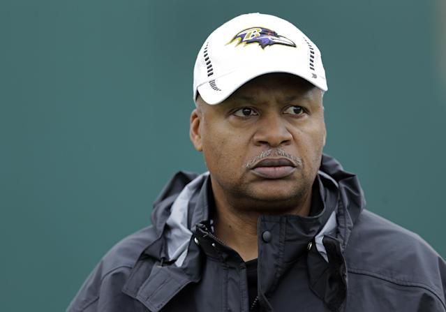 Baltimore Ravens offensive coordinator Jim Caldwell walks onto the field as his team warms up during an NFL Super Bowl XLVII football practice on Wednesday, Jan. 30, 2013, in New Orleans. The Ravens face the San Francisco 49ers in Super Bowl XLVII on Sunday, Feb. 3. (AP Photo/Patrick Semansky)