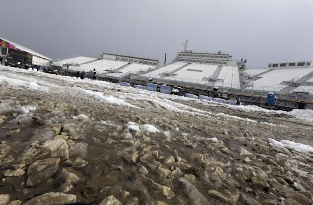 Stones are exposed on the surface of the finish area at the Extreme Park, the venue for the freestyle events the 2014 Winter Olympics, Friday, Jan. 31, 2014, in Krasnaya Polyana, Russia. Preparations are reaching their final stages for the Sochi Winter Olympics, although some venues appear more ready than others. (AP Photo/Luca Bruno)