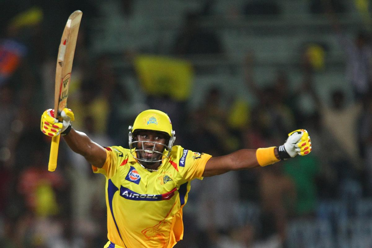 Dwayne Bravo celebrates the win during match 30 of the Pepsi Indian Premier League between The Chennai Superkings and the Rajasthan Royals held at the MA Chidambaram Stadiumin Chennai on the 22nd April 2013. (BCCI)