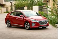 """<p>The <a href=""""https://www.caranddriver.com/hyundai/ioniq"""" rel=""""nofollow noopener"""" target=""""_blank"""" data-ylk=""""slk:2021 Hyundai Ioniq"""" class=""""link rapid-noclick-resp"""">2021 Hyundai Ioniq</a> isn't flashy or exciting. Instead, the small hatchback offers hybrid and plug-in-hybrid powertrains that prioritize efficiency. The Ioniq also looks like a normal car, which is a departure from extroverted—some would say weird-looking—alternatives such as the <a href=""""https://www.caranddriver.com/toyota/prius"""" rel=""""nofollow noopener"""" target=""""_blank"""" data-ylk=""""slk:Toyota Prius"""" class=""""link rapid-noclick-resp"""">Toyota Prius</a>. While the Toyota hybrid is renowned for its gas-sipping efficiency, the hybrid <a href=""""https://www.caranddriver.com/hyundai"""" rel=""""nofollow noopener"""" target=""""_blank"""" data-ylk=""""slk:Hyundai"""" class=""""link rapid-noclick-resp"""">Hyundai</a> actually has better EPA fuel-economy ratings, especially on the highway (up to 59 mpg versus the Prius' 53). However, the plug-in hybrid version of the Ioniq is less efficient than the plug-in <a href=""""https://www.caranddriver.com/toyota/prius-prime"""" rel=""""nofollow noopener"""" target=""""_blank"""" data-ylk=""""slk:Prius Prime"""" class=""""link rapid-noclick-resp"""">Prius Prime</a>. Along with a handsome interior as well as a competitive roster of driver assists and infotainment features, the 2021 Ioniq does a great job of sipping fuel while shipping people. Just don't expect it to raise any pulses.</p><p><a class=""""link rapid-noclick-resp"""" href=""""https://www.caranddriver.com/hyundai/ioniq"""" rel=""""nofollow noopener"""" target=""""_blank"""" data-ylk=""""slk:Review, Pricing, and Specs"""">Review, Pricing, and Specs</a></p>"""