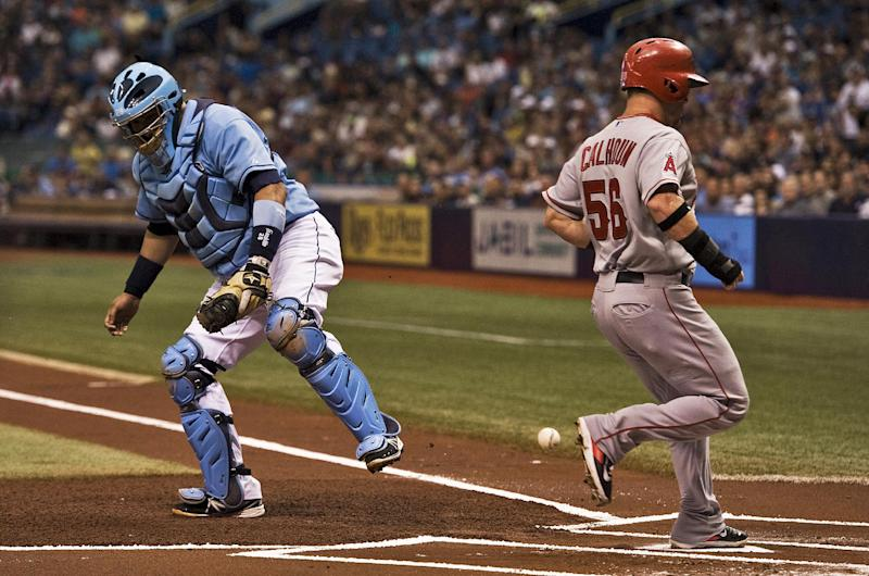 Trout, Angels beat Rays in power-delayed game