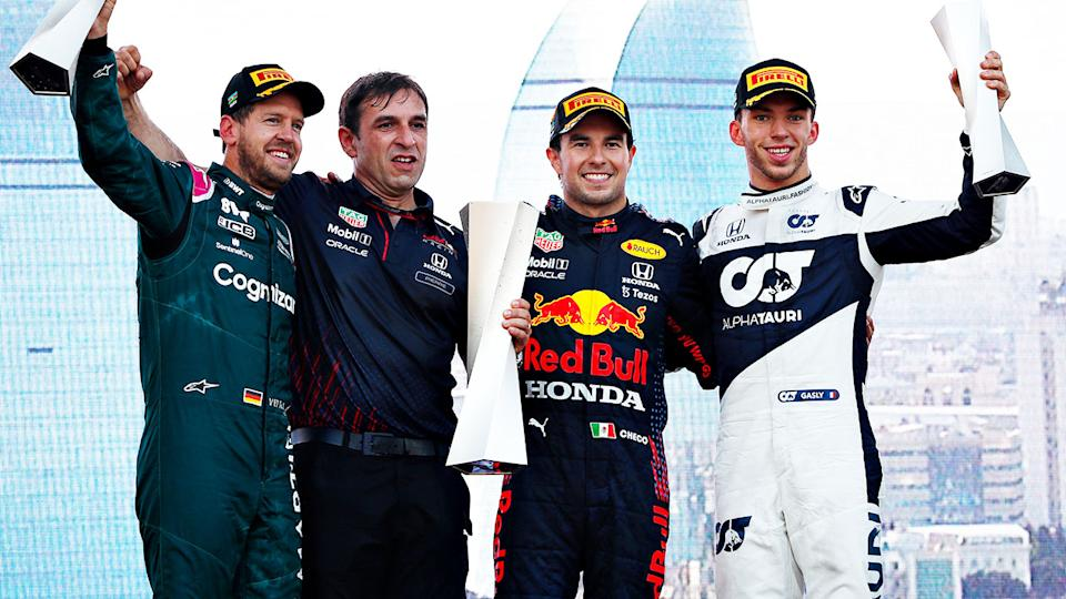 Sebastian Vettel, Sergio Perez and Pierre Gasly, pictured here on the podium after the F1 Grand Prix of Azerbaijan.