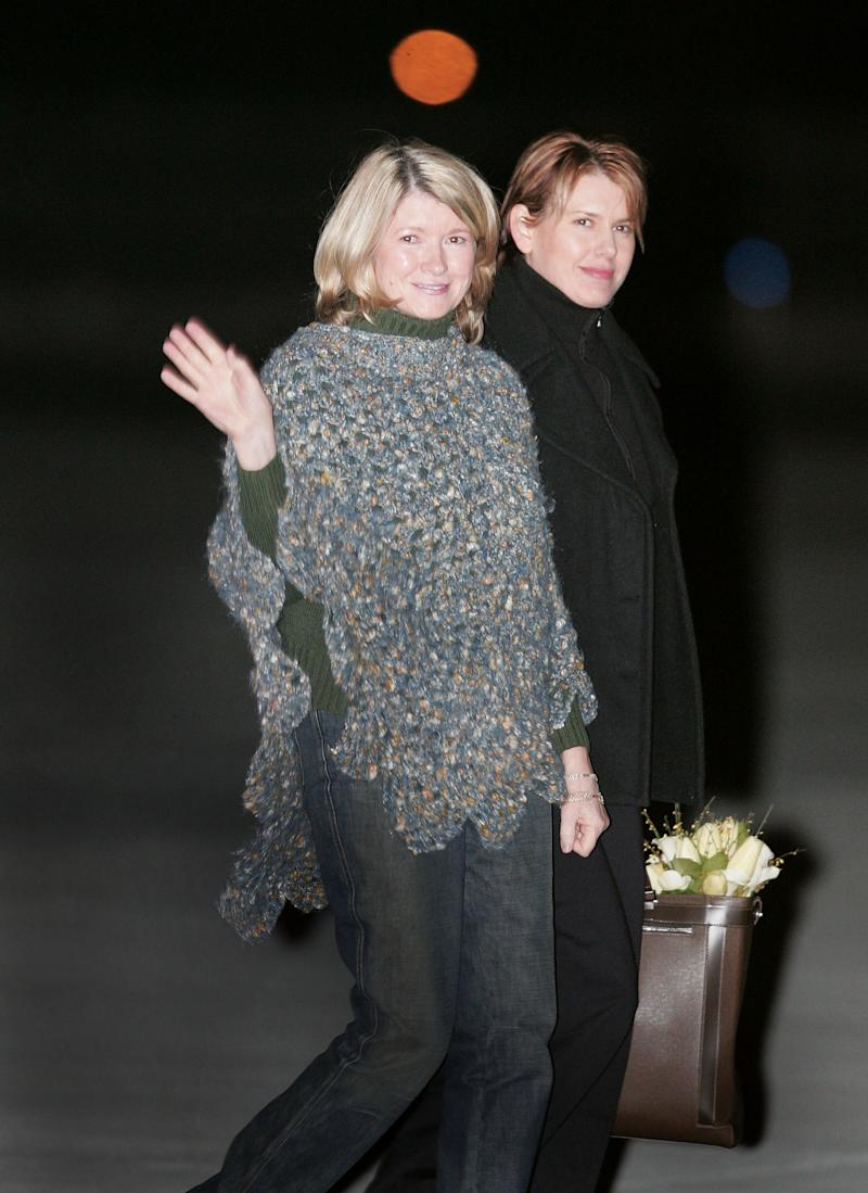 LEWISBURG, WV - MARCH 4: Martha Stewart (L) boards a private jet with her daughter Alexis Stewart at Greenbrier Valley Airport March 4, 2005 after being released from Alderson Federal Prison Camp in Lewisburg, West Virginia. Stewart completed a five-month sentence at the prison for lying to investigators about a stock trade. (Photo by Scott Olson/Getty Images)