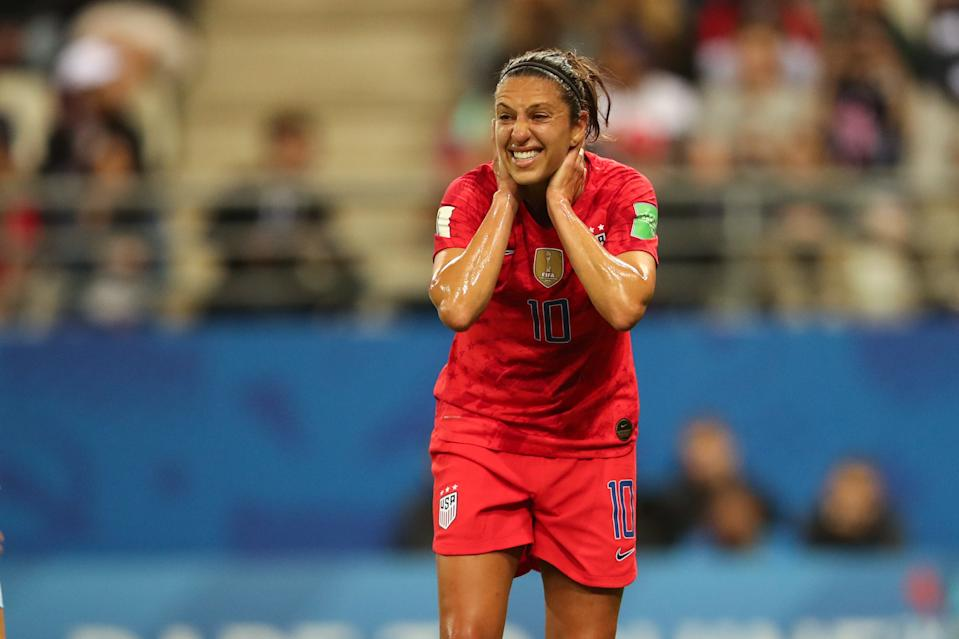 REIMS, FRANCE - JUNE 11: Carli Lloyd of USA reacts during the 2019 FIFA Women's World Cup France group F match between USA and Thailand at Stade Auguste Delaune on June 11, 2019 in Reims, France. (Photo by Molly Darlington - AMA/Getty Images)
