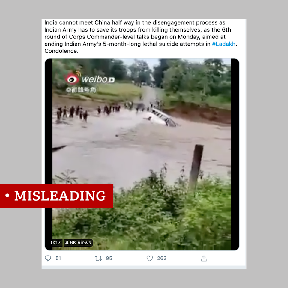 Video of an army truck drowning shared with a misleading claim about Indian soldiers along the border with China