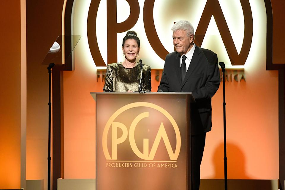 Donner with his wife in 2019 at the Producers Guild awards ceremony (Getty)